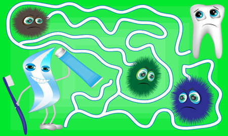 Cartoon Vector Illustration of Education Maze or Labyrinth Game for Preschool Children with Cute Tooth, Brush Tool and Toothpaste