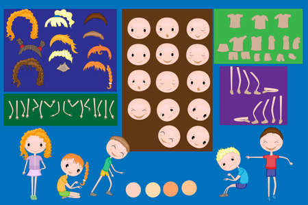 Kids face and body parts. Paper child. Clothing. Template. Group of little boys and girls playing. Vector illustration 矢量图像