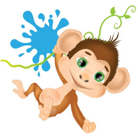 Vector illustration with cute baby monkey with withe background 矢量图像