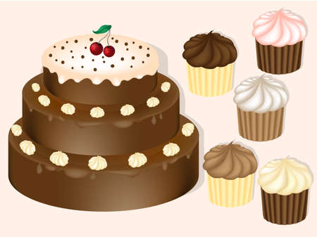 Realistic vector cake. Pie Realistic Vector Illustration