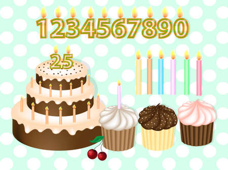 Birthday Cake with Candles Numerals. Birthday candles set. Realistic Vector Illustration Ilustracja