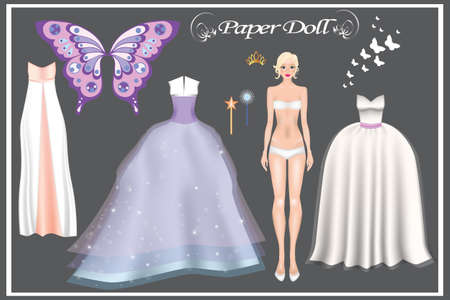 Paper Doll. Realistic image of a girl and beautiful ball dresses. Body templates. 矢量图像