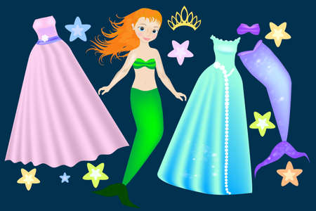 Mermaid beautiful Paper Doll. Body templates. Zdjęcie Seryjne - 156353106