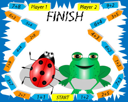 Mathematical game with ladybug and frog. Educational games for kids. Calculate the examples.
