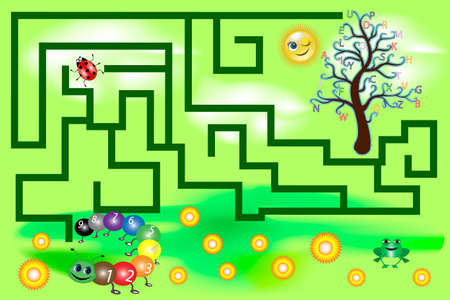 Maze for kids with tree with alphabet and caterpillar with numbers