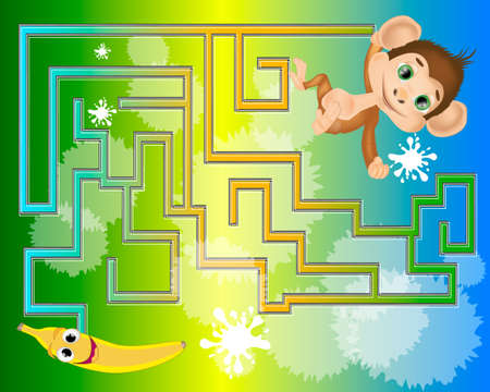 Colorful maze for kids with a monkey and banana. Help the monkey find the banana