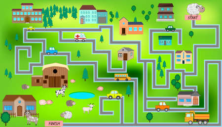 Cartoon map seamless pattern with farm, roads, cars and houses. City map for children with maze. Play mat.