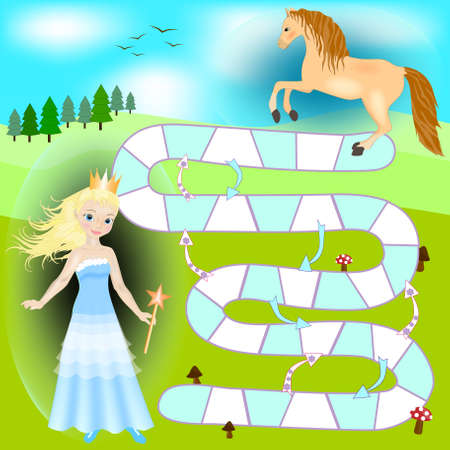 Beautiful princess game. Boardgame for girl. Hehp princess to find the way to her horse