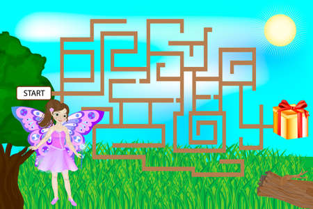 Colorful maze game with Fairy. Butterfly girl looking for a gift 矢量图像