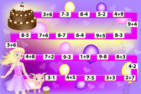 Mathematical game with a beautiful girl and a pig. Calculate the examples. Educational games for kids 矢量图像