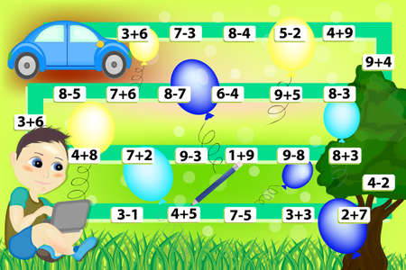 Mathematical game with boy and car. Educational games for kids. Calculate the examples.
