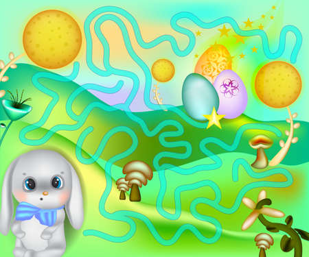 A board game with a rabbit. Easter. Maze game for kids with bunny and painted eggs