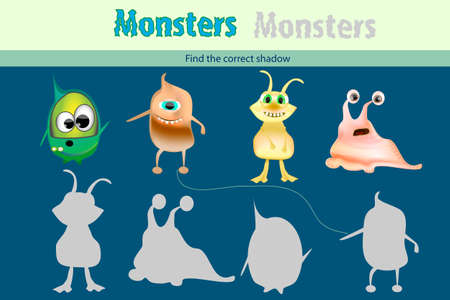 Education game for children. Find the correct shadow with monster. Funny monsters vector set. Funny alien 矢量图像