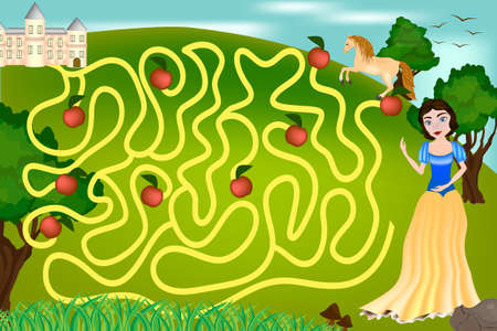 Maze game for children The Princess is looking for the Prince castle 矢量图像