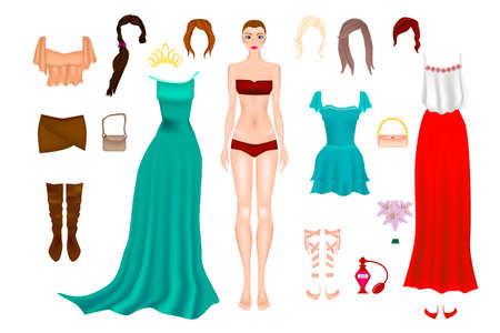 Paper Doll With Clothes, Shoes And Different Hairstyle. Body templates