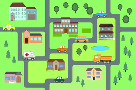 Cartoon map seamless pattern. roads, cars and houses . City map for children. Play mat
