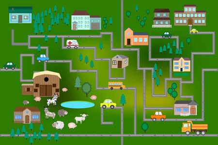 Cartoon map with farm, roads, cars and houses. City map for children with maze. Play mat. Vector Funny Maze Game