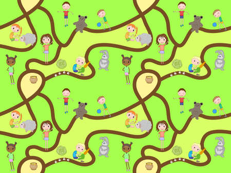 Cartoon map seamless pattern with roads and kids. Vector seamless pattern - playing children. Pattern for the fabric, wrapping paper, children s play mat, board games and etc.
