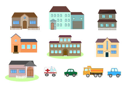 Set of Colorful Residential Houses and car. Flat style, vector illustration. Private residential architecture. 矢量图像