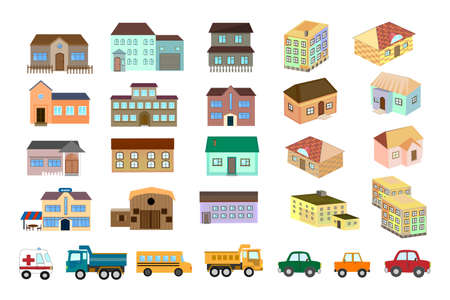 Buildings, Houses, Car Vector illustration on a white background.