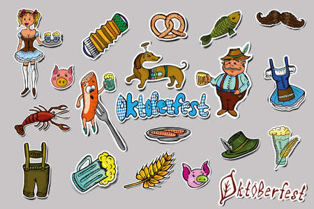 Set of Oktoberfest festival cartoon stickers. Hand drawn colorful Oktoberfest elements and accessories