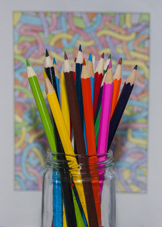 coloured background: Colouring pencils with coloured background Stock Photo