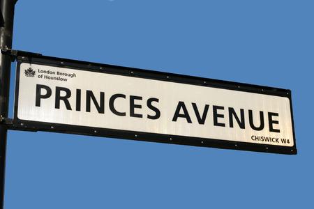 princes street: Street sign Princes Avenue Stock Photo