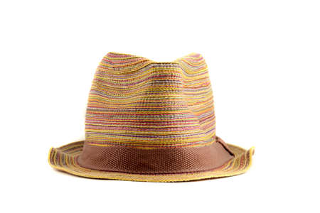 full face: Colored straw hat full face on a white background