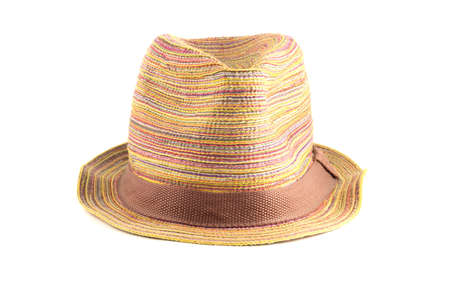 Colored straw hat full face on a white background photo