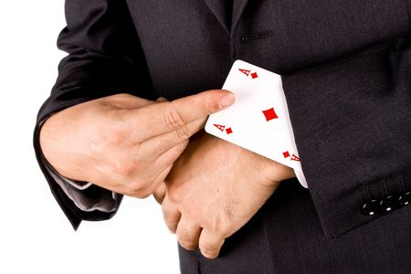 dupe: Business man with card and he has an ace up his sleeve