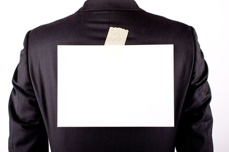 prank: business man with a white sheet on the back on white background Stock Photo
