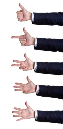 Hand sign numberson white background photo