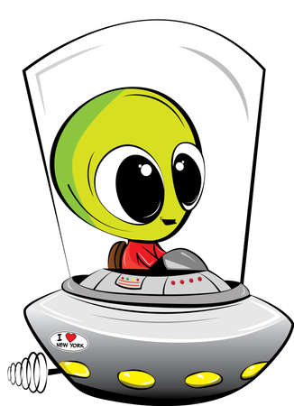 A fun illustration of an Alien zooming around in his spaceship.