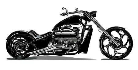 A highly detailed illustration of a chopper motorcycle. Vecteurs