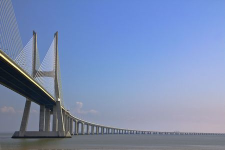 Vasco da Gama Bridge in Lisbon, Portugal Stock Photo
