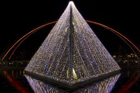 Christmas garlands lights illumination on the street Stock Photo
