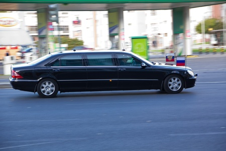 Portugal, Lisbon – November 20, 2010:  Car of Russian President Dmitry Medvedev on the way from Lisbon airport to the zone Expo, where NATO summit occurs