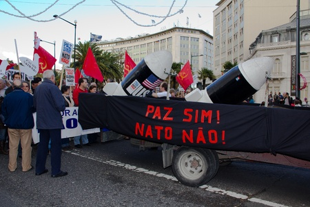 Portugal, Lisbon – November 20, 2010:The protests against NATO, on the day of NATO Summit in Lisbon