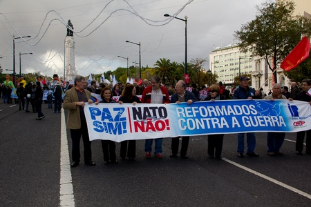 nato summit: Portugal, Lisbon – November 20, 2010:The protests against NATO, on the day of NATO Summit in Lisbon Editorial
