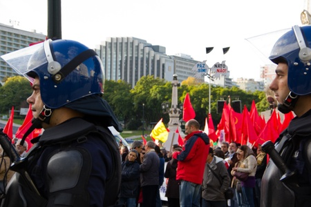 Portugal, Lisbon – November 20, 2010:The protests against NATO, on the day of NATO Summit in Lisbon Editorial