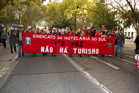 nato summit: Portugal, Lisbon – November 20, 2010:The protests against NATO, on the day of NATO Summit in Lisbon