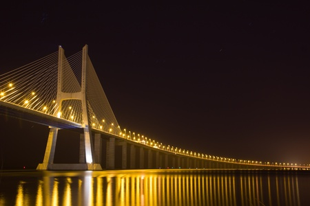 Vasco da Gama bridge over the Tagus River at night in Lisbon