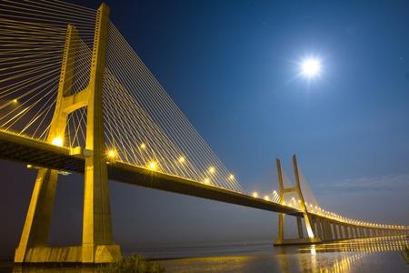 Vasco da Gama bridge under moonlight