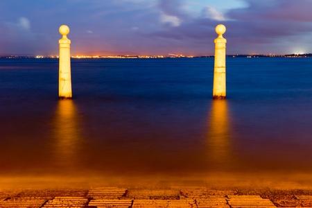 Die Spalten Wharf Viewpoin in Lissabon Lizenzfreie Bilder