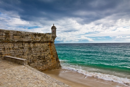 fortress in Sesimbra, Portugal Stock Photo