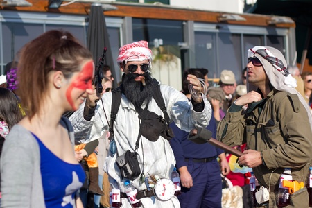 SESIMBRA, PORTUGAL - FEBRUARY 19: Man dreesed up as Bin Laden in the Carnival on February 19, 2012 in Sesimbra, Portugal. Editorial