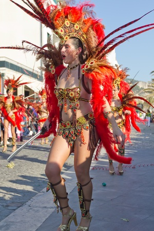 SESIMBRA, PORTUGAL - FEBRUARY 19: Samba dancer in the Carnival on February 19, 2012 in Sesimbra, Portugal.