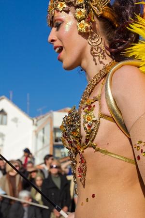 SESIMBRA, PORTUGAL - FEBRUARY 19: Samba dancer in the Carnival on February 19, 2012 in Sesimbra, Portugal.