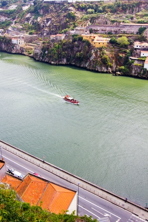 boat floats on the river Douro,Porto, Portugal