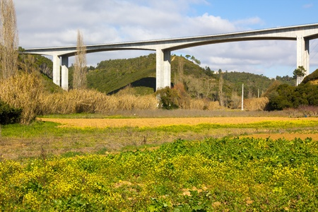 Elevated highway viaduct over a grassy field photo